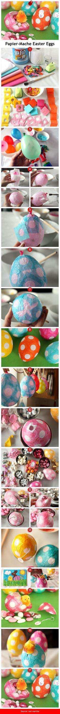 Papier-Mache Easter Eggs via pindemy.com