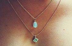 bling, aquamarin, cloth, layer necklac, dainty necklaces