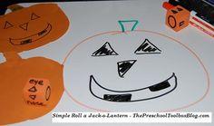 Roll a Jack-o-Lantern Game roll, jackolantern game, preschool
