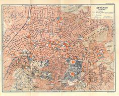 Athens Vintage City Plan Greece 1953 Street Map by carambas, $16.00
