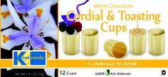 Kane Candy White Chocolate Cordial & Toasting Cups. Great for wine tastings, dinner parties and holiday events! Fill with your favorite dessert wine, liqueur or use as mini dessert cups.  www.KaneCandy.com