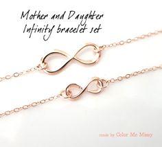 Mother & Daughter Infinity Bracelet Set - Rose Gold