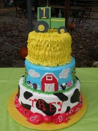 Cute cake!  Needs a red tractor!