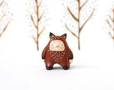 Animal figurine  Fox boy  Paper clay miniature  by sweetbestiary, £21.00