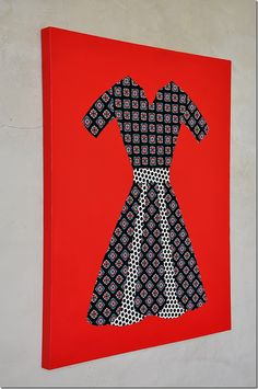 fabric dress wall art ; might try this with a different design