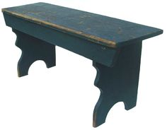 19th Pennsylvania double mortised bench great small size with dingo  blue paint bench, blue heaven, blue paint