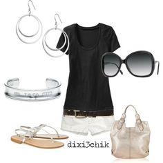fashion, style, cruise outfits, white shirts, black white, summer outfits, shorts, summer clothes, black pants