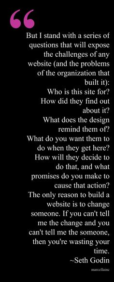 Seth Godin on website design.