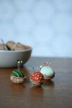 pincushion, walnut crafts, pin cushion, nut decor