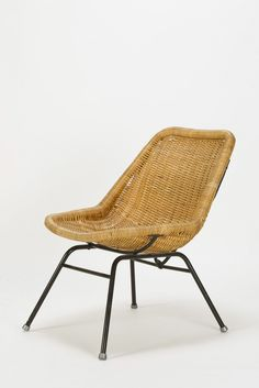 Herbert Hirche; Enameled Metal and Cane Chair, 1950s.