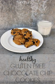 These healthy gluten free pumpkin chocolate chip cookies use homemade oat flour. Easy, quick and delicious! You won't believe the chewy, moist texture.