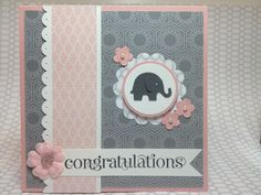 Basic Gray,   Pretty in Pink. Edge Border Punch. Love the color combo.
