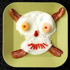 Eggs and bacon skull and crossbones! This made me laugh, very creative!