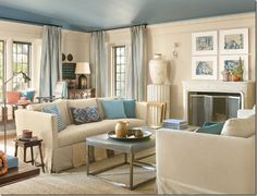 tans and blue- love the painted ceiling