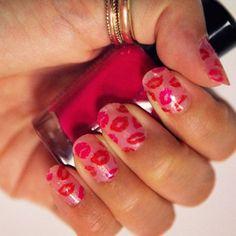 Kisses #nailart #xoxo #love #pink #red #valentinesday #polish