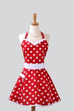 polka dots~ red apron