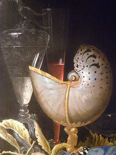 Ottmar Elliger the Elder, Still-life with Lobster, Fruit and a Nautilus Shell, 1667, detail 1