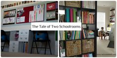 """Two different homeschool rooms. Traditional with desks and personal space for students. """"Unschool"""" where daily living and school are intertwined."""