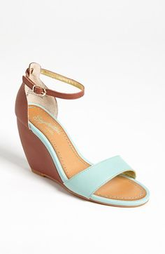 Mint green wedge sandals.