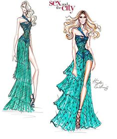 carrie from SATC wears hayden williams haute couture fw 2011-2012 evening dress . haydenwilliamsillustrations.tumblr.com