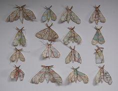 map moths by Jenny Mccab #moths #sculpture #paper #maps