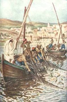 "The Miracle of the Large Catch of Fish.    BIBLE SCRIPTURE: Luke 5:7, ""And they beckoned unto their partners, which were in the other ship, that they should come and help them. And they came, and filled both the ships, so that they began to sink."""
