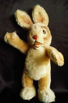 Vintage 1950's or 1960's Steiff Bunny Rabbit with ear button, Standing, Open Mouth, 13 inches tall