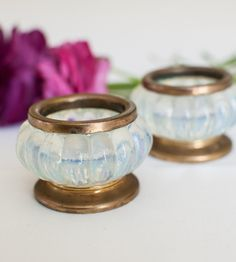 Pair of Opaline Glass Salt Cellars