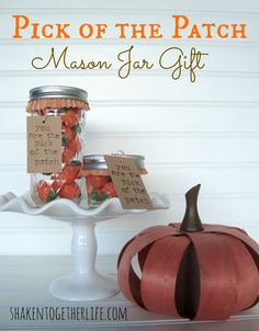 Easy Fall Gift: Pick of the Patch Mason Jar gift | shakentogetherlife.com mason jar gifts, patch fall, pumpkin, place cards, fallthanksgiv, fall mason, thanksgiving table, mason jars, halloween