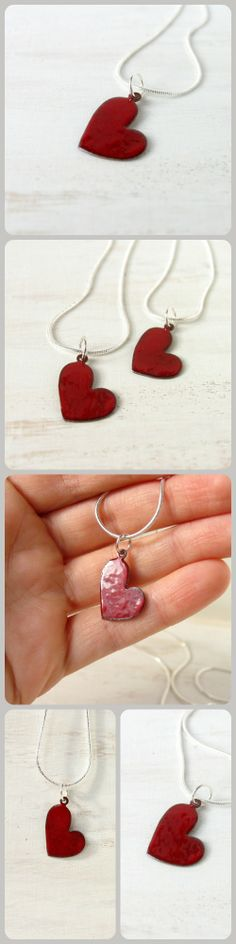 Red heart love Valentines Enamel pendant necklace artisan by alery, $20.00