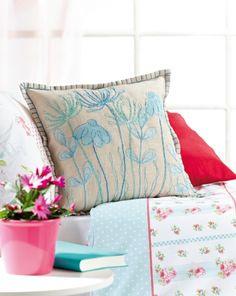 cross stitch flowers pillow
