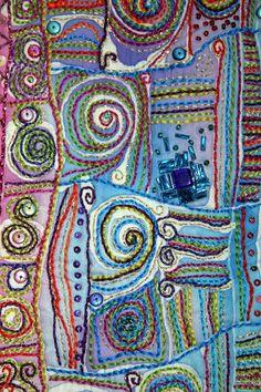 Embroidered batik embroid batik, fiber art
