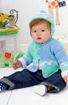 Checkers Sweater Set Crochet   What little boy wouldn't look picture perfect in this spiffy set? Most of the sweater is worked in single  crochet, and bands of double crochet in changing colors accent the design with a collegiate look for your favorite little man. Red Heart Free Pattern - no membership required