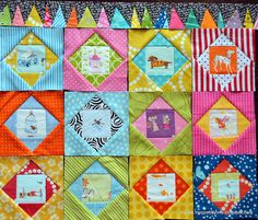 Economy Squares by courtiepie, via Flickr's Economy Block Quilt Along group. Love the wonky triangle border strips!