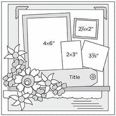 Multi-Photo Scrapbook Page Sketches 151-180: Scrapbook Page Sketch 226