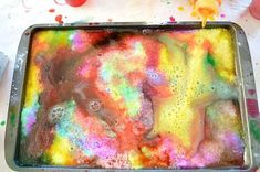 Science Experiments for Kids: Rainbow Lemon Eruptions Salt Tray