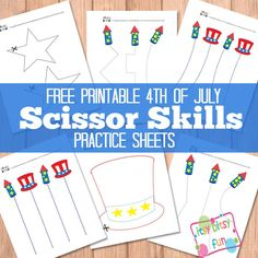4th Of July Scissor Skills Cutting Practice Sheets
