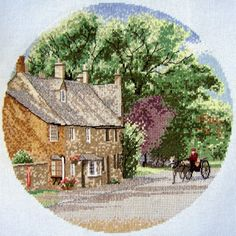 Very pretty countryside scene, stitched by blogger Alain-Flora... 'Village Lane' is the design by John Clayton for Heritage Crafts ;)