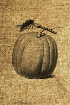 pumpkin art print on burlap, perfect for fall or halloween decor
