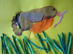 spring robin, robin class, foot print crafts, footprint, bird collag