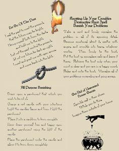 4 Banishing Wicca Spells Book of Shadows Parchment page