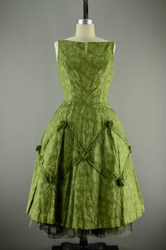 1950's unusual moss green chiffon dress