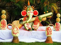 Fruit And Vegetable Carving Lord Ganesha....
