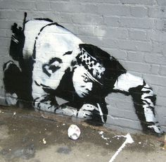 who controls the controllers? #Banksy snorting #cop  #streetart #graffiti