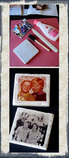 Gift Idea: Photo Coasters  .  Having majored in photography, C h r i s t i n e   A l v a r a d o  recalled an alternative image transfer process using acetone and a xerox color copy and transferring it onto paper so she decided to experiment with it on tile.   The materials are relatively inexpensive, but they do take some time to make.