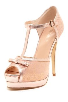 "Rose Gold colored t-strap vamp with bow, peep toe, ankle strap, 5"" heel"
