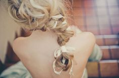 Ribbons in a bridal hairstyle