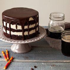 Chocolate stout cake with whiskey-espresso chocolate glaze.