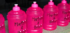 "customized water bottles for ""Martinis & Bikinis"" bachelorette beach weekend"