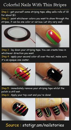 Beauty Tutorials: Colorful Nails Stripes!